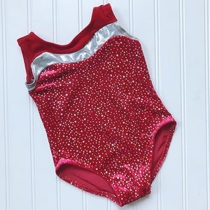 •Balera• red velvet sparkle leotard